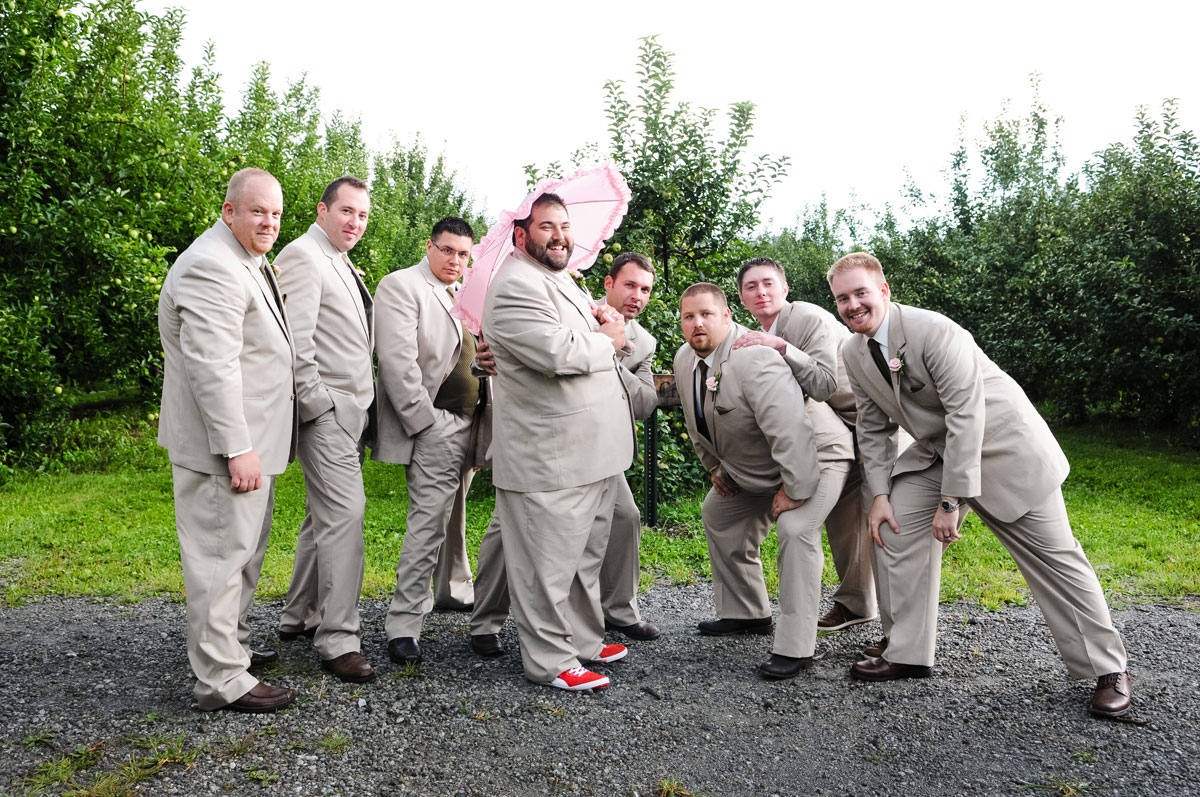 groomsmen-groom-silly-wedding-hobart-indiana-county-line-orchard-barn-umbrella-best-friends